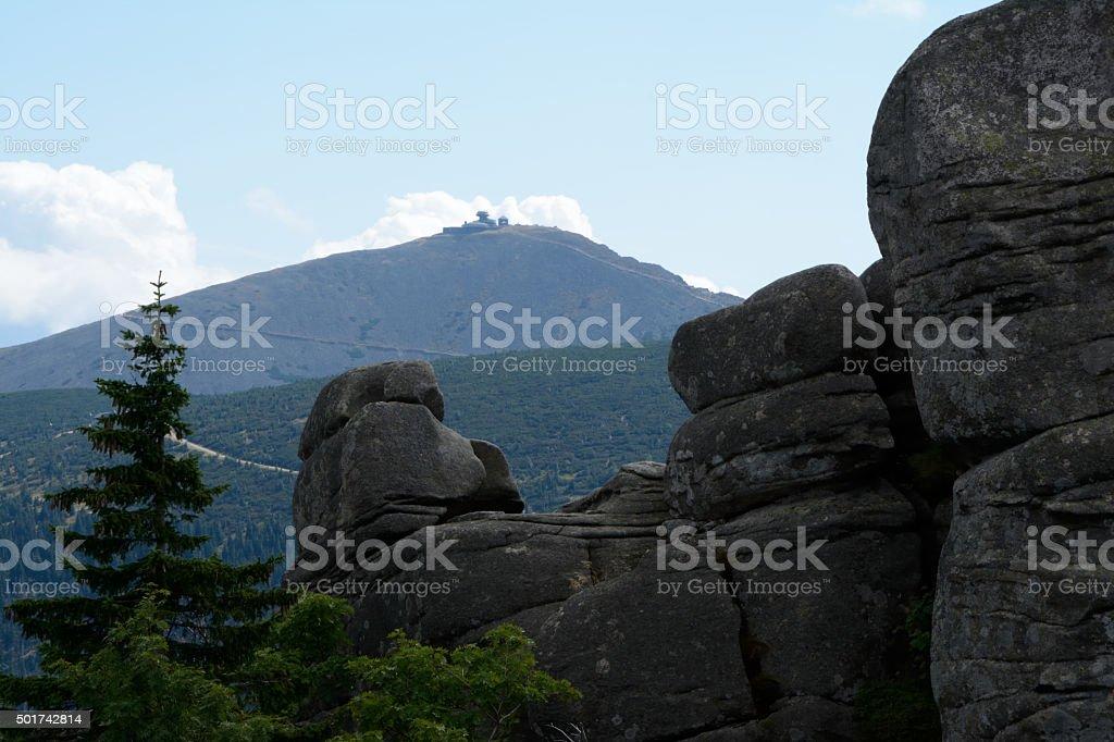 Pielgrzymy rocks and Sniezka peak in Karkonosze mountains stock photo