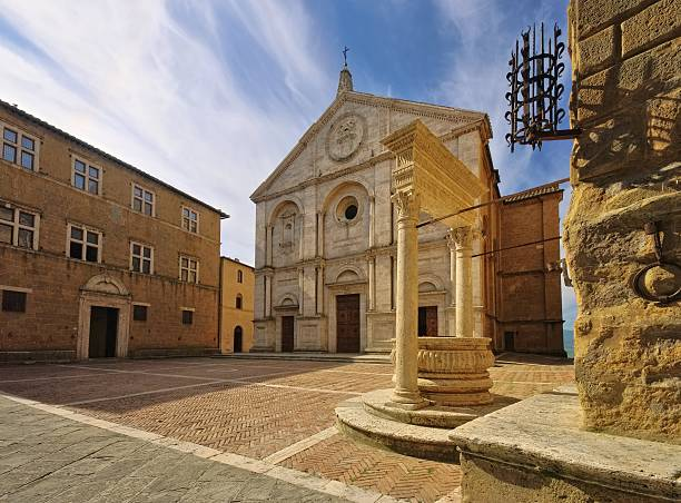 Pienza cathedral Pienza in Tuscany pienza stock pictures, royalty-free photos & images