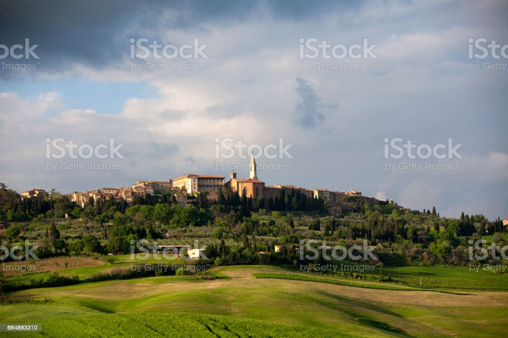 Pienza, medieval village at sunset stock photo