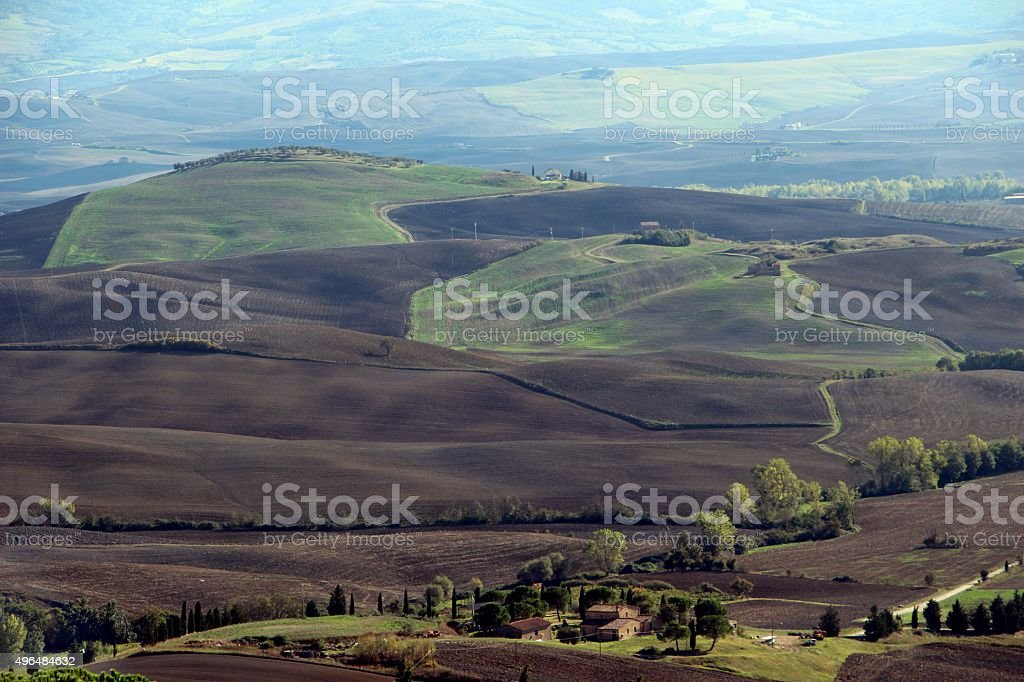 pienza - panorama on val d'orcia stock photo