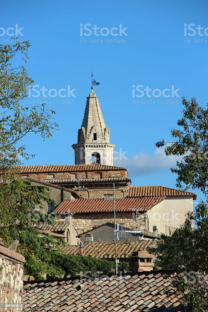 pienza - roof and belfry of the duomo stock photo