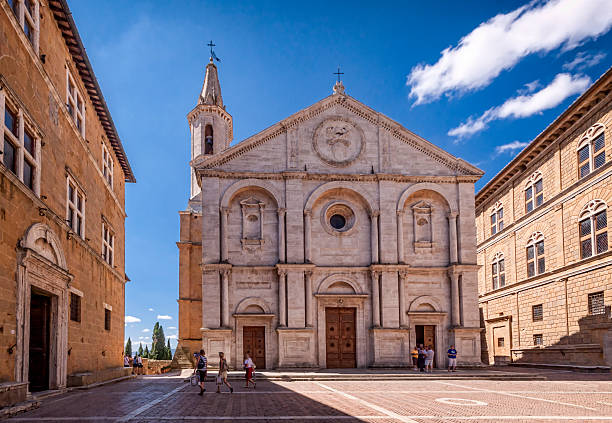 Pienza square of cathedral Tuscany, Italy. Pienza square of the cathedral Tuscany, Italy. pienza stock pictures, royalty-free photos & images