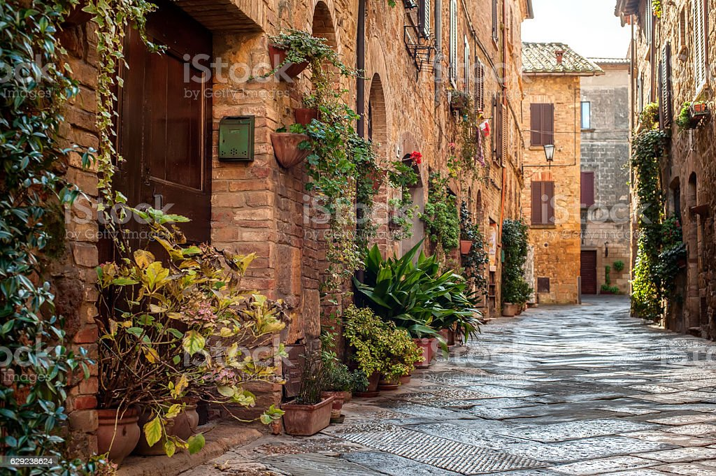 Pienza street view stock photo