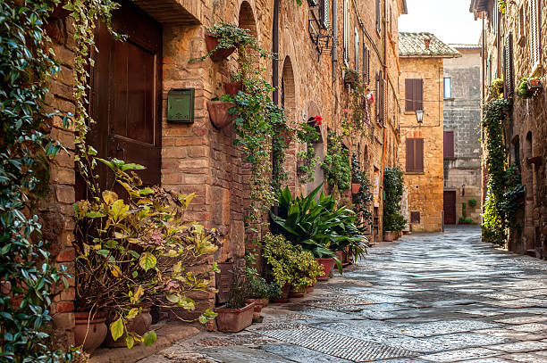 Pienza street view The old town and the streets of the medieval period,  Pienza, Italy. pienza stock pictures, royalty-free photos & images