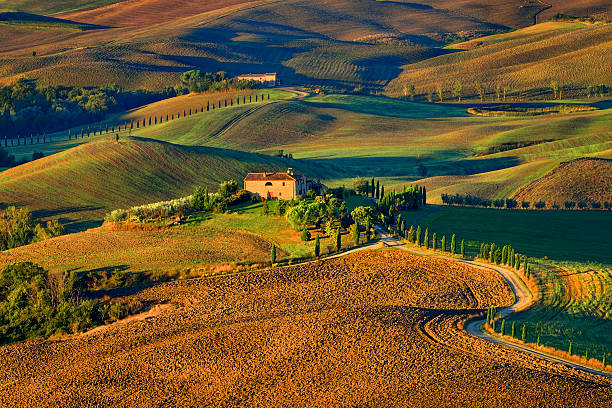 Pienza Toscana Italy, road to the pictures  movie GLADIATOR stock photo