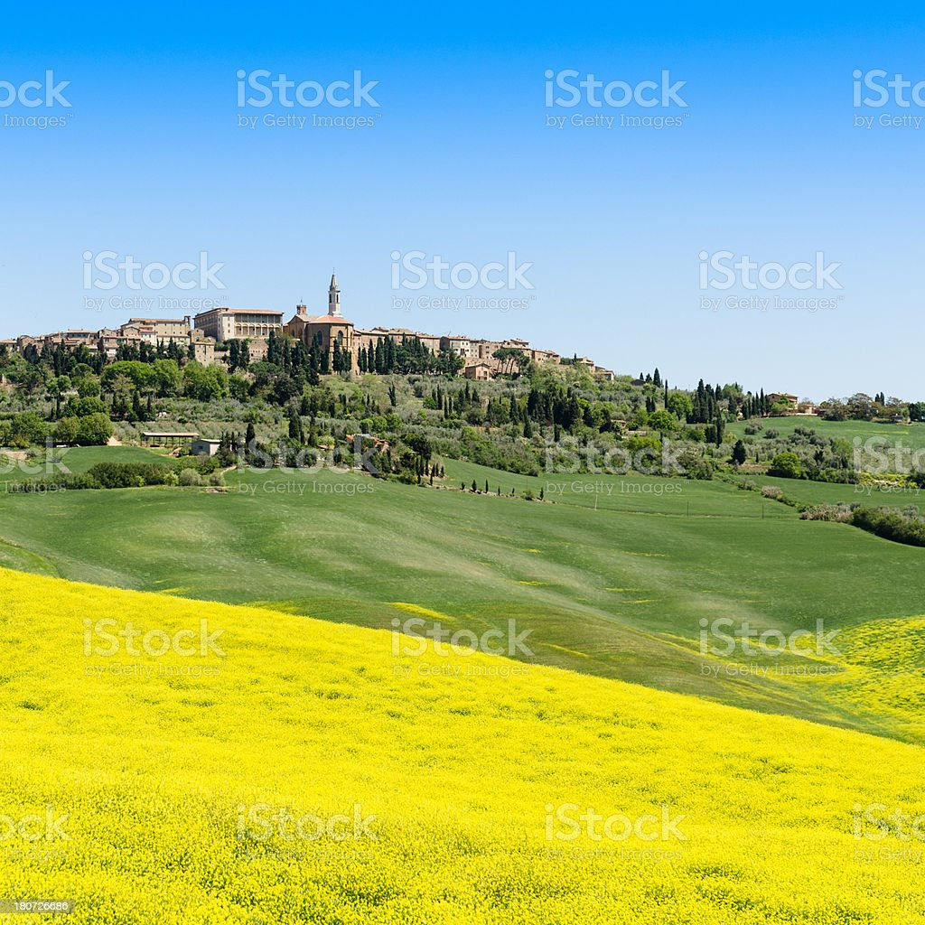 Pienza town on spring landscape royalty-free stock photo
