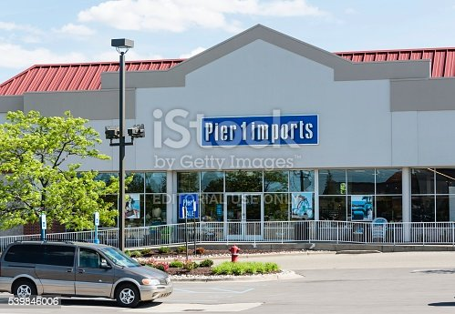 Rochester Hills, Michigan, USA - June 8, 2016: The Pier 1 imports store in Rochester Hills, Michigan. Pier 1 imports is a chain of stores offering furnishings from around the world. Founded in California in 1962, Pier 1 imports operates over 1000 locations nationwide.