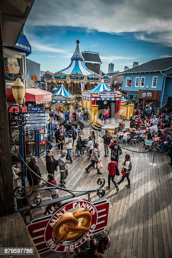 San Francisco, USA - November 21, 2015 : Pier 39 of San Francisco. Pier 39 is a shopping center and famous tourist attraction built on a pier in San Francisco