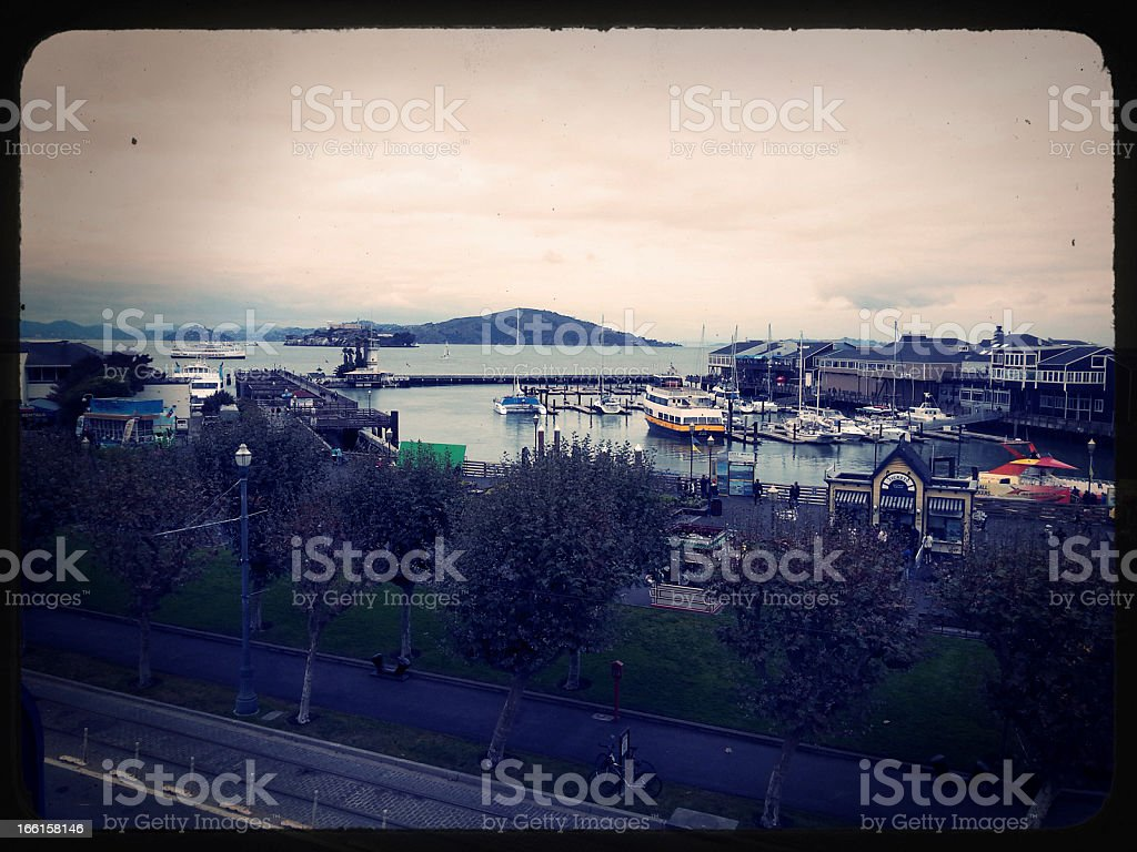 Pier 39 San-Francisco View Vintage Slide royalty-free stock photo
