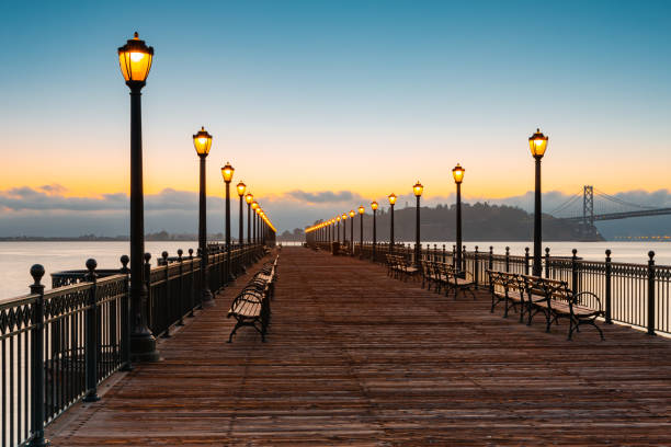 Pier 7 is a leading dock into the sea in the Embarcadero, San Francisco, California, USA