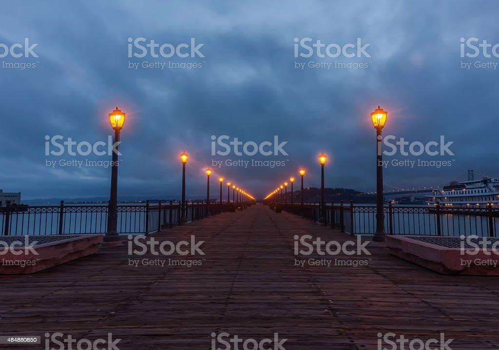 Pier 7 San Francisco at the crack of dawn stock photo