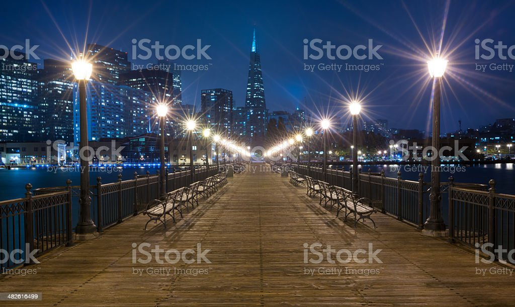 Pier 7 with Transamerica Pyramid, San Francisco Skyline at Twilight stock photo