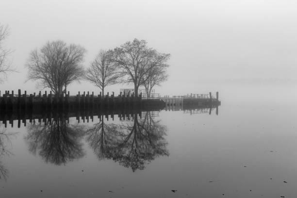 Pier Across the Hudson River stock photo