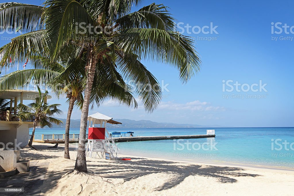 Pier and beach at Doctors Cave Beach in Jamaica royalty-free stock photo