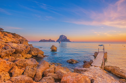 Pier And Beautiful Landscape At Cala Dhort On Ibiza Stock Photo - Download Image Now