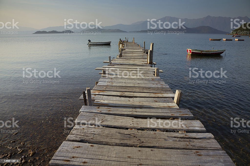 pier and boat royalty-free stock photo