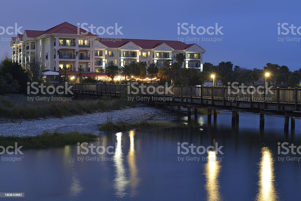 Pier and Hotel at Charleston Harbor royalty-free stock photo