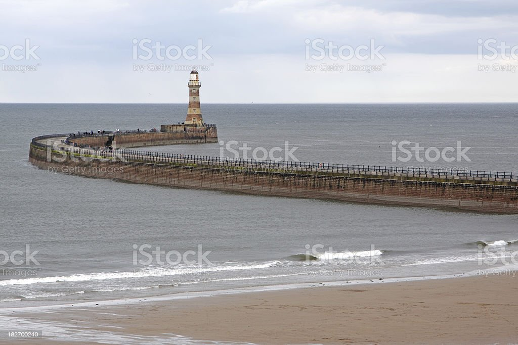 pier and lighthouse, sunderland,england stock photo