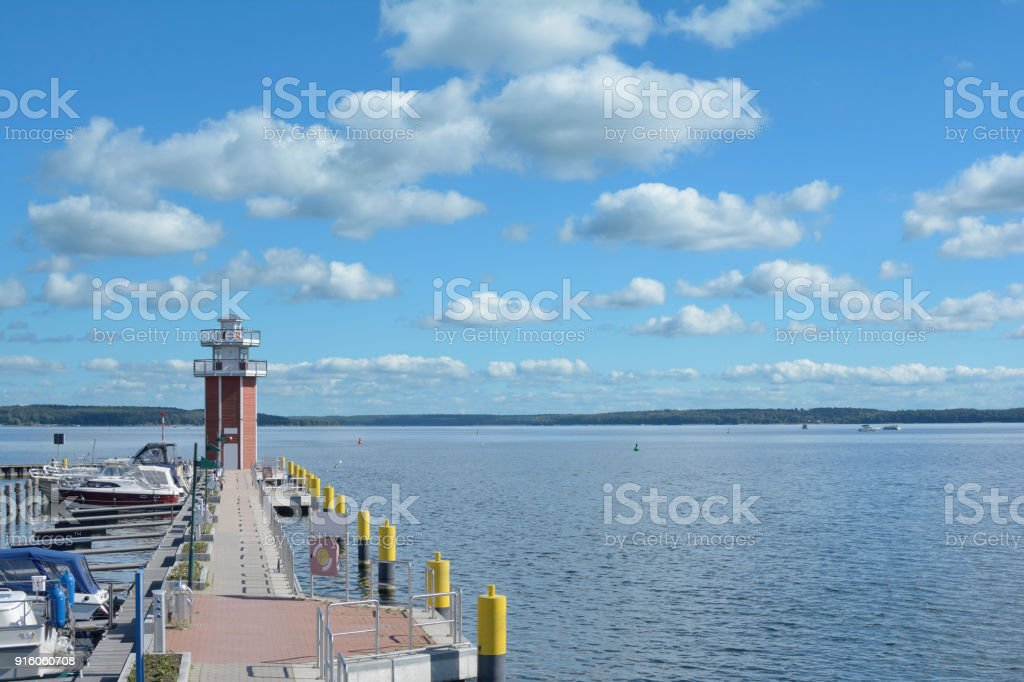 Pier and Lighthouse,Plau am See,Mecklenburg Lake District,Germany stock photo