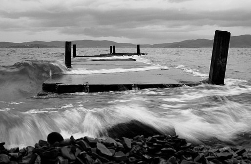 Pier and moving water
