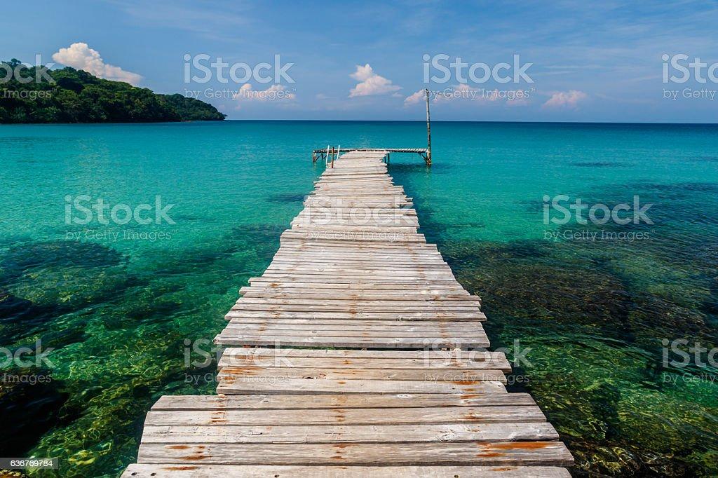 Pier and pristine bay, Sai Daeng Beach, Koh Kood, Thailand stock photo