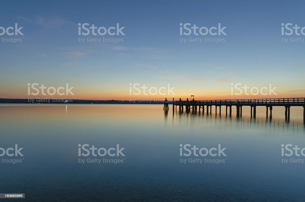 Pier and Sailboats at Lake Ammersee royalty-free stock photo
