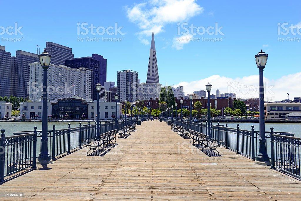 Pier and San Francisco city Skyline, California stock photo