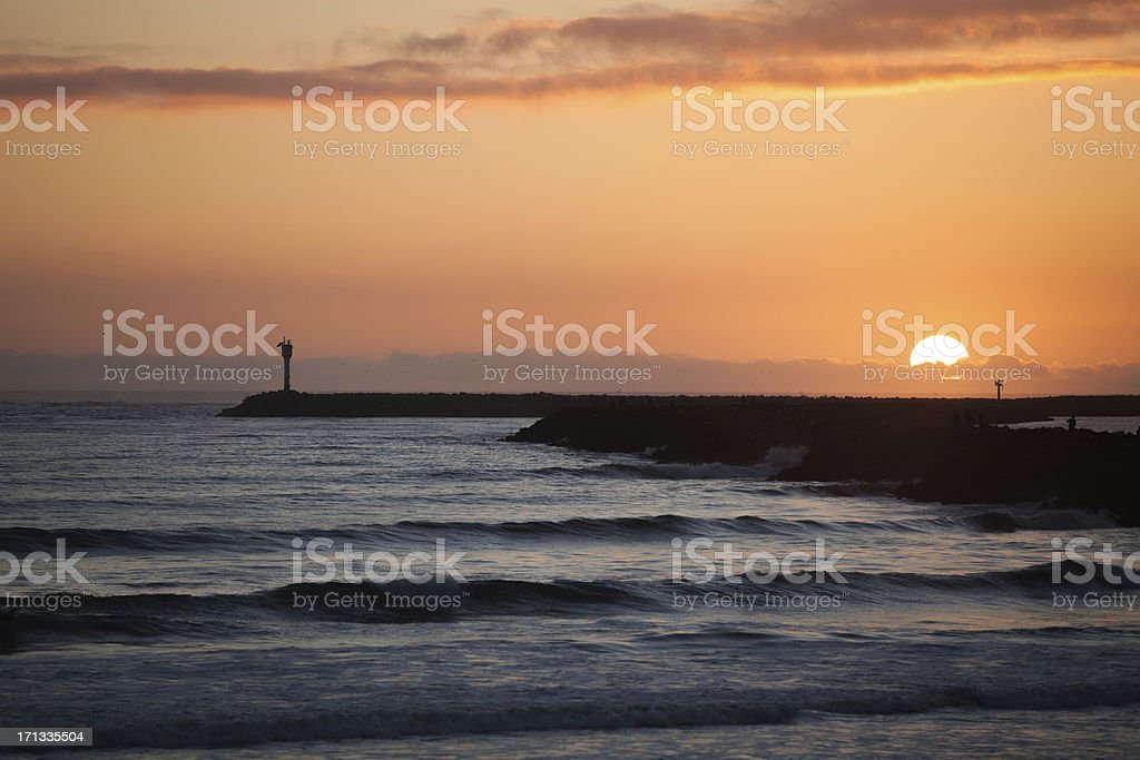 Pier and Sunset royalty-free stock photo