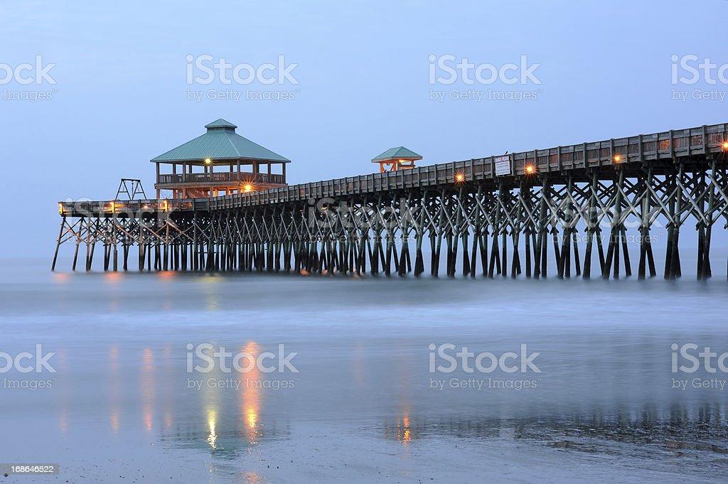 Pier at Folly Beach stock photo