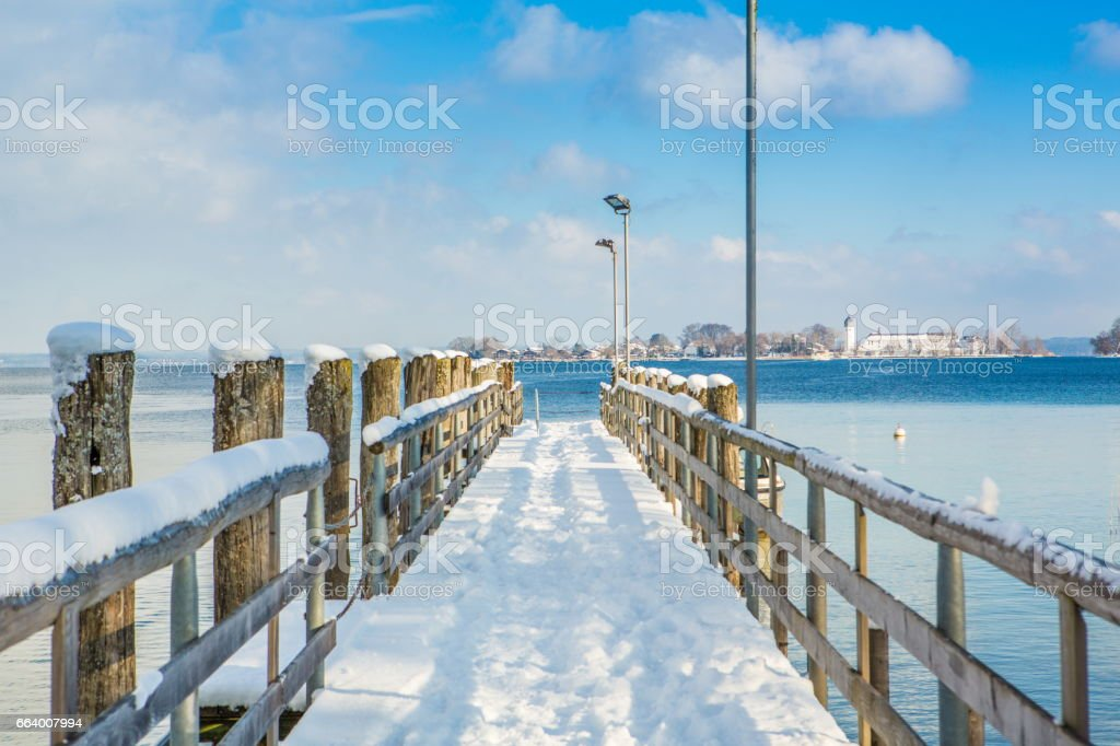 Pier at  Fraueninsel of Chiemsee stock photo