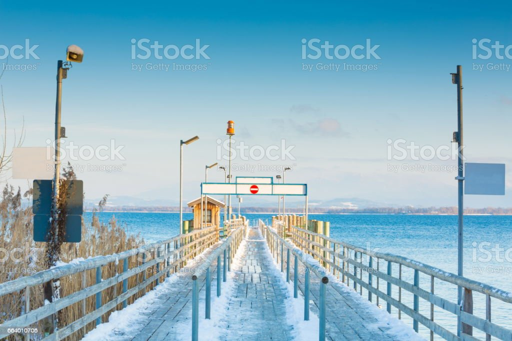 Pier at Gstadt of Chiemsee stock photo