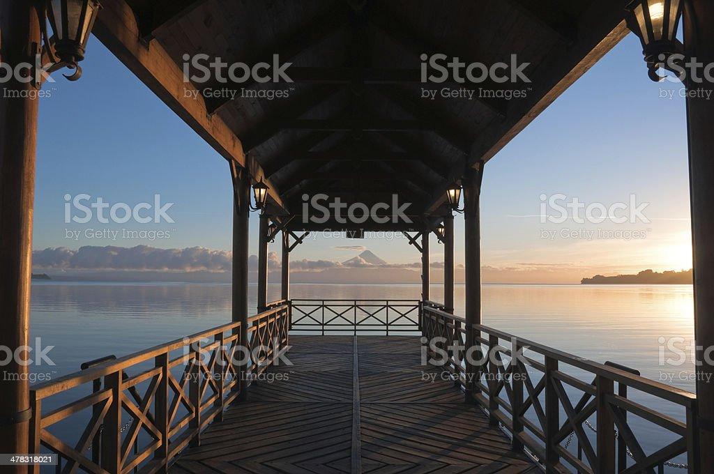 Pier at Llanquihue lake, Frutillar (Chile) stock photo