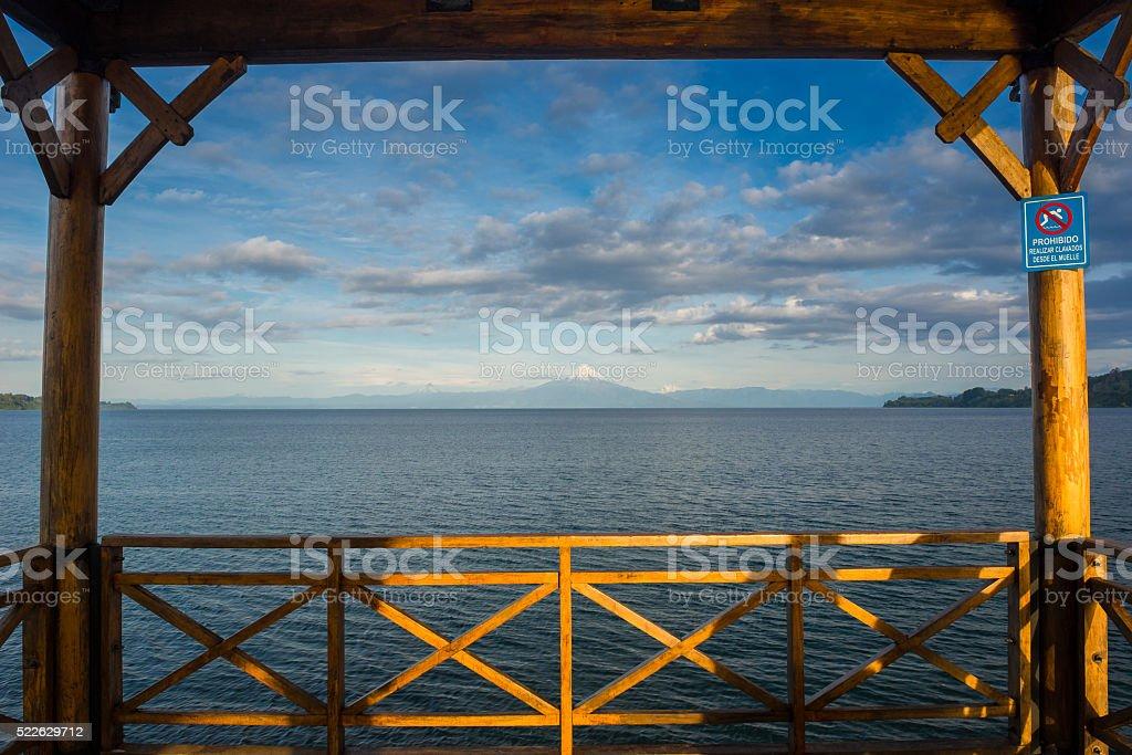 Pier at Lllanquihue lake, Frutillar (Chile) stock photo