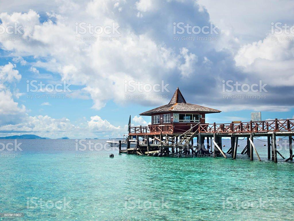 Pier at Sipadan Island, Sabah, Malaysia stock photo