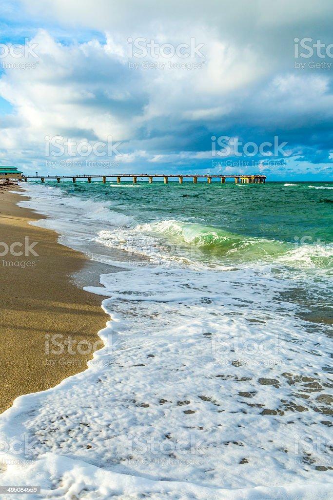 pier at Sunny Isles Beach in Miami stock photo