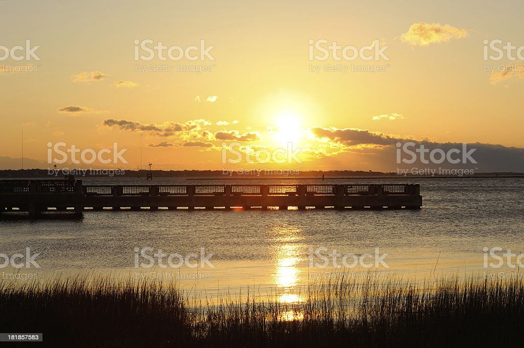 Pier at Sunrise stock photo