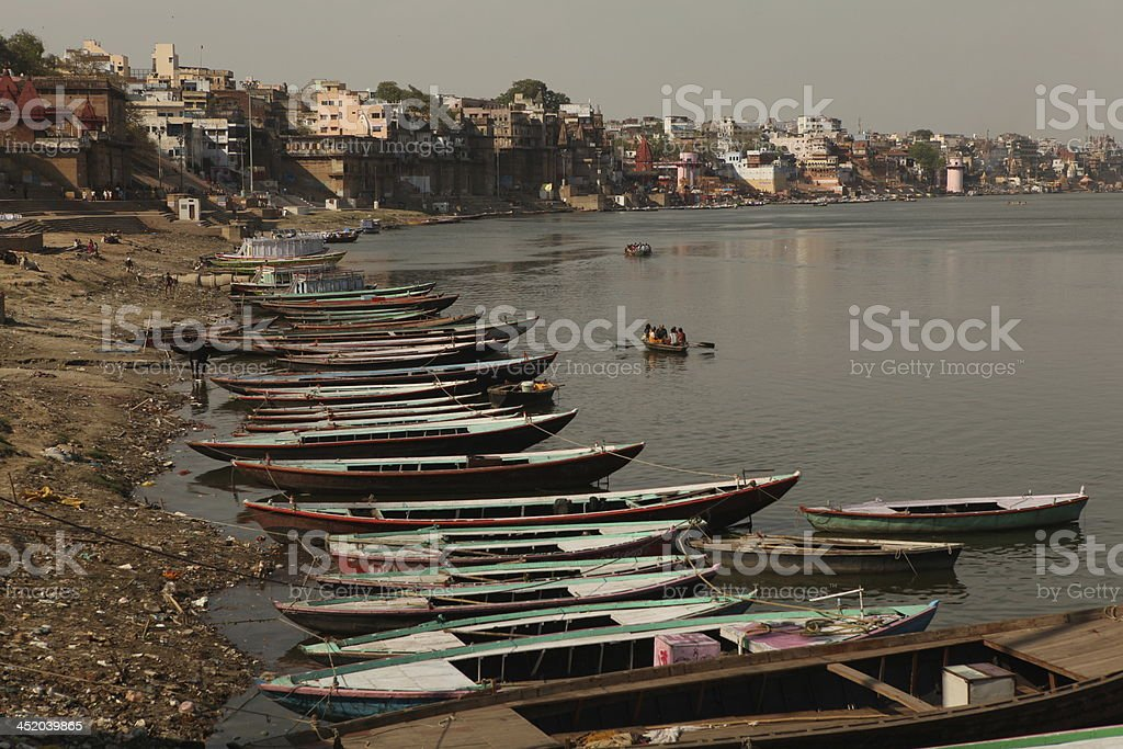 Pier at the Ganges stock photo
