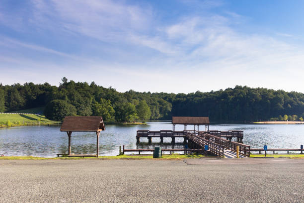 Pier at the Greene Lake Park This photo was taken at the Greene Lake Park in Charlottesville, VA. charlottesville stock pictures, royalty-free photos & images