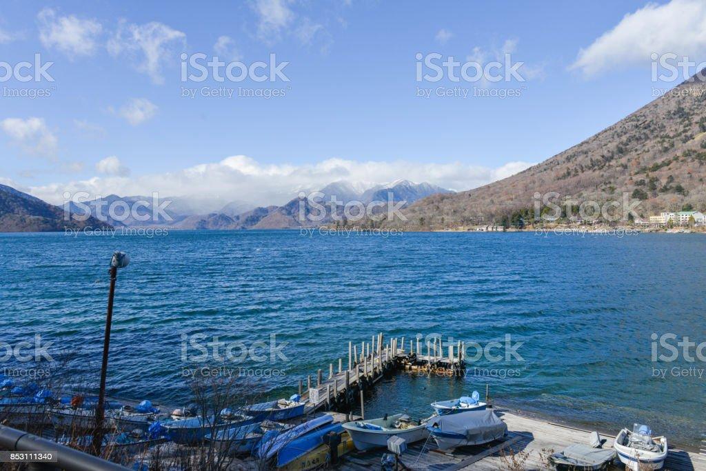 Pier at the Lake Chuzenji in the Nikko Japan stock photo