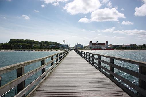 Pier Binz on Rügen Island Baltic Sea, blue sky