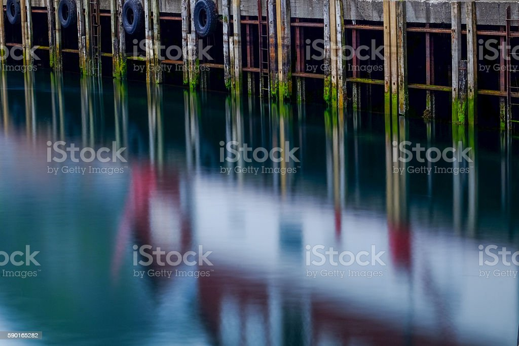 Pier by midsummer night stock photo