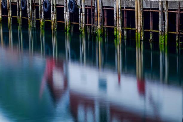 Pier by midsummer night stock photo