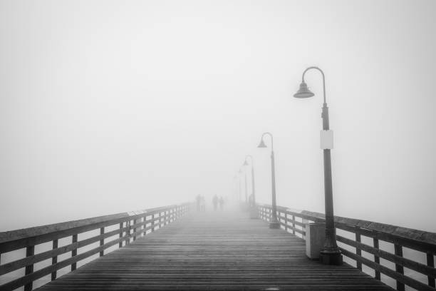 Pier Fog 3 (B&W) stock photo