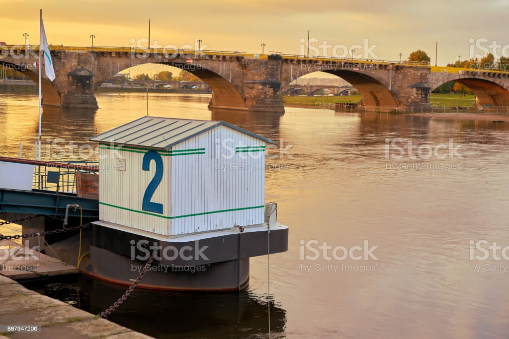 Pier for excursion boats on the banks of the Elbe in Dresden stock photo
