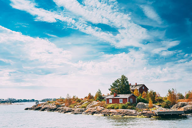 A pier in an island near Helsinki, Finland on a sunny day stock photo