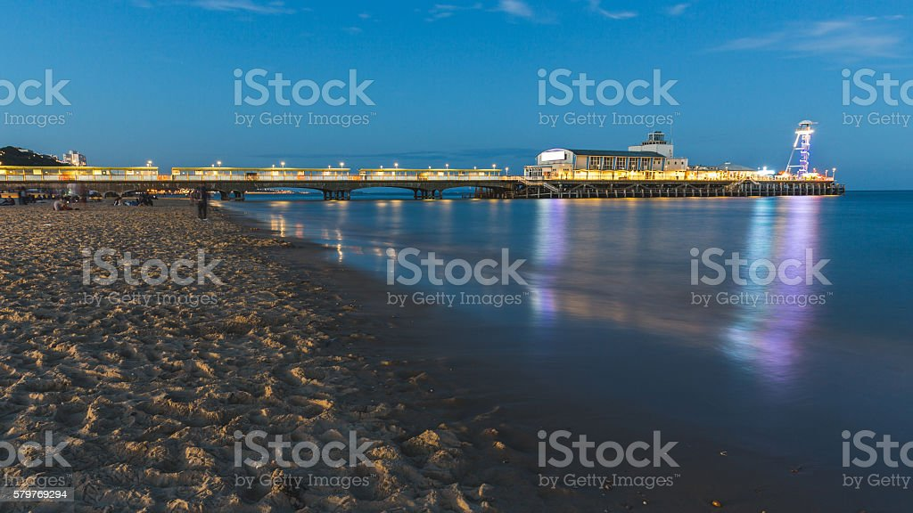 Pier in Bournemouth at night, long exposure shot stock photo