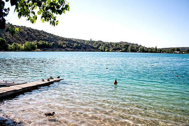 Pier in Del Rey Lagoon, In Lagunas de Ruidera stock photo