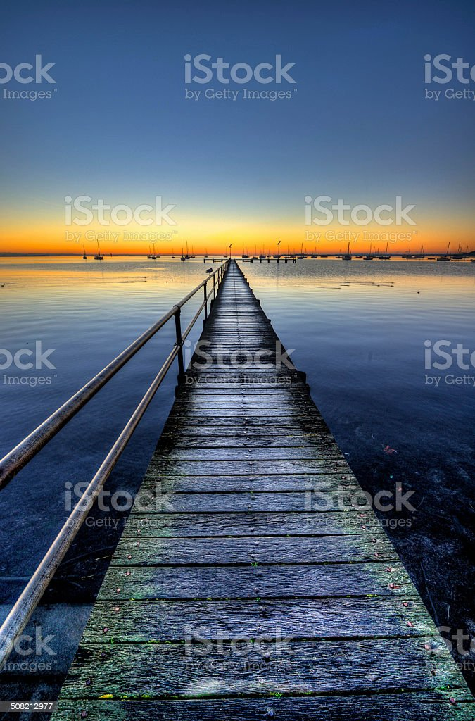 Pier in Geelong at dawn stock photo