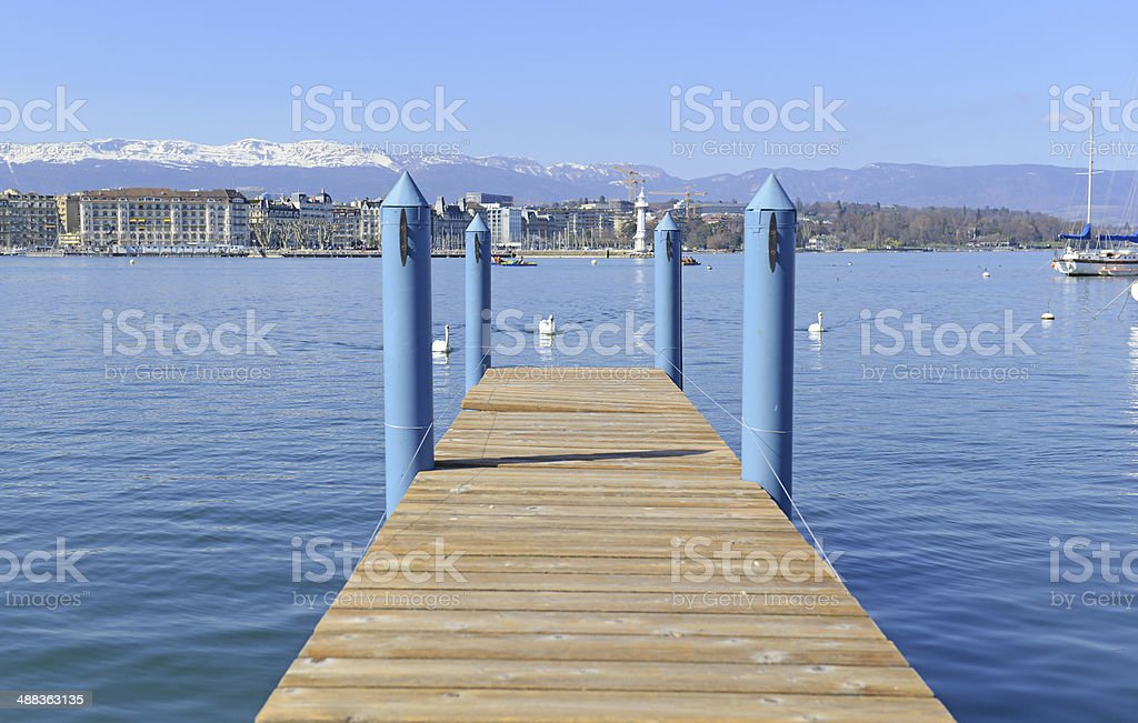 Pier in Lake Geneva, Switzerland royalty-free stock photo