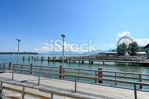 istock Pier in Prien at lake Chiemsee with a view on the Bavarian alps on a sunny day 1300841056